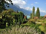 Beautiful garden view and lake Brienz