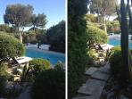2 views from the terrace down to the pool (2012)