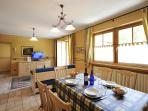 The spacious 80mq ski chalet apartment is arranged over two floors