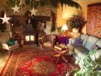 The main Sitting Room (decorated for Christmas guests).
