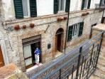Front of house from Castello Vecchio above, on Carassai's main street