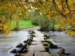 Historic Iron age bridge at Tarr Steps in Exmoor National Park