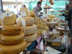Cheese stall at the Saturday market