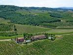 Aerial photo - the villa is set amongst vineyards, olive groves and woods