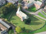 Arial view of the church and gardens...