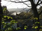View across historic Lancaster from beside Castle