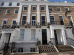 The apartment is located in a very grand Grade II listed building