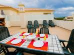 Large private terrace with BBQ, sun loungers and dining table
