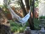 Hammock in cool, shady garden