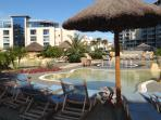 Unwind in beautiful Ocean Village gardens, children pool