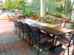 Shaded terrace with outside dining table