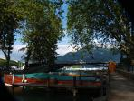 Annecy-Pont des Amours wharfs - embarkment for a lake-cruise in typical old boats-