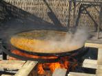 Paella cooked fresh on Burriana Beach