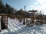Vista al exterior en el invierno nevado