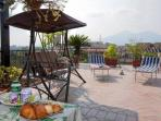 Panoramic Terrace Vesuvius view, where we serve rich and tasty breakfast from April to November.