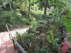 stairs at side of casita to gardens