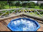 The jacuzzi at the sun deck, with heating system and place for eight bathers