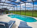Pool with large deck area and considerable privacy to enjoy the Florida sun