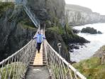 Deborah on Carrick-a-Rede Rope Bridge (18 miles from Tranquility)