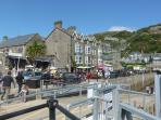 Bars and restaurants overlooking the Harbour at Barmouth.