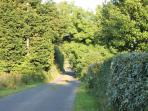 The road outside the cottage - perfect for a walk or a cycle