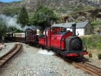 Ffestiniog narrow gauge steam railway at Tanygrisiau station, only a 2 minute walk from the cottage