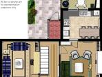 Ground floor and outdoor space plan. Patio is exclusive to this property.
