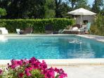 La piscine avec un mobilier de jardin complet et confortable (serviettes de plage fournies)