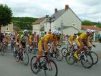 Bike race through village