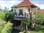 Our  2 storey Villa. AC bedroom & ensuite bathroom are upstairs. It sleeps 3 adults or a small f
