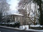 Entry to the Chateau in snow