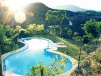 Swimming pool with mountain views over loooking the Sewlo Safari Park