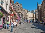 Victoria Street leading from Grassmarket with abundance of restaurants