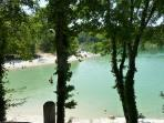 Lake and beach at Montaigu (20 mins) - swimming (with lifeguard), canoes and pedalos -