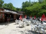 One of five restaurants at Montaigu - this one is lakeside.
