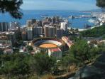 Vistas de la ciudad de Málaga, desde El Castillo de Gibralfaro