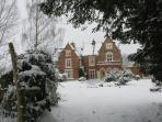 Fronfraith Hall - View of Front in Winter Snow