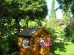 Landscaped garden with playground
