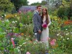 Kerry and John, 2 of our guests, were married locally and used our garden for their wedding photos.
