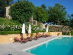 Il Casale and pool: roses in full bloom in early June. Lucky you, if you can holiday then!