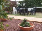 The large garden is equipped with outdoor facilities. including BBQ