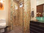 3 rd shower room/W.C and sink located off the front entrance, ideal for use during pool time