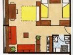 Disposizione dell'appartamento, i due finestroni fanno vedere la valle sottostante