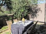 garden outside the house for breakfast, lunch and dinner in the shade of olive trees, cactuses and a