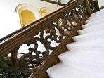 Intricate carved oak staircase