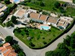 Quinta Velha - aerial view - Girassol roof is 2nd to the right of rectangular water tower