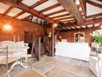 The dining and sitting area in the Lodge, full of character
