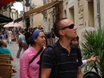Our friends having a stroll in Uzes.