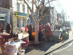 Bridport market is a hive of activity even on a cold and sunny winters day!