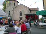 Weekly summer barbecue in village square with live music and dancing!